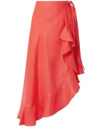 Miguelina Liviona Ruffled Linen Wrap Skirt - Red