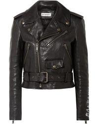 Balenciaga Veste en cuir Biker - Noir