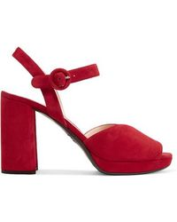 Prada Red 105 Suede Leather Platform Sandals