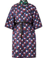 Tomas Maier - Oversized Belted Printed Poplin Mini Dress - Lyst