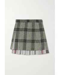 Thom Browne Checked Wool-tweed And Striped Cotton-poplin Mini Skirt - Grey