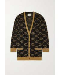 Gucci - Oversized Metallic Intarsia Wool-blend Cardigan - Lyst