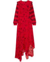 Preen Line - Hebe Asymmetric Printed Crepe De Chine Maxi Dress - Lyst