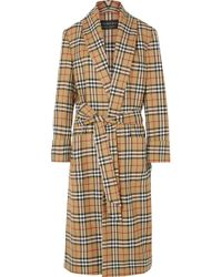 Burberry - Checked Wool Coat - Lyst