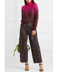 Dries Van Noten Paroval Cropped Floral-print Cotton-twill Wide-leg Pants - Black