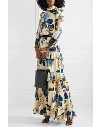 Johanna Ortiz Sheer Decoration Velvet And Lace-trimmed Floral-print Silk Crepe De Chine Maxi Dress - White