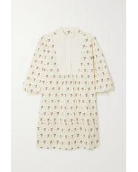 ALEXACHUNG Robe-chemise En Popeline De Coton À Imprimé Fleuri - Blanc