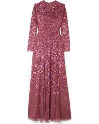 Needle & Thread Robe Du Soir En Tulle À Sequins Rosmund - Rouge