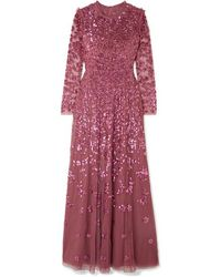Needle & Thread Rosmund Sequined Tulle Gown - Red