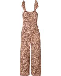Faithfull The Brand - Elsa Cropped Leopard-print Crepe Jumpsuit - Lyst