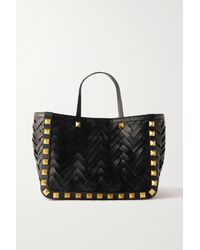 Valentino Garavani Garavani Upstud Woven Leather Tote - Black
