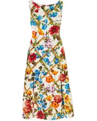 Dolce & Gabbana - Printed Cotton And Silk-blend Brocade Midi Dress - Lyst