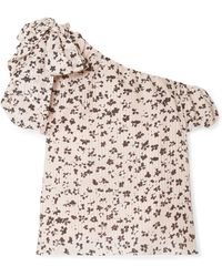 Ulla Johnson - Femi One-shoulder Floral-print Cotton And Silk-blend Top - Lyst