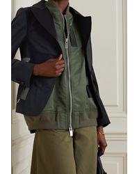 Sacai Layered Satin-trimmed Shell And Crepe Jacket - Green