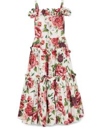 Dolce & Gabbana - Cold-shoulder Floral-print Cotton Maxi Dress - Lyst