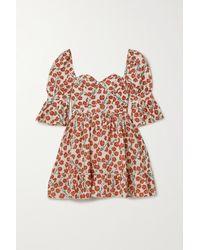 Agua by Agua Bendita Cedro Floral-print Cotton Mini Dress - Red