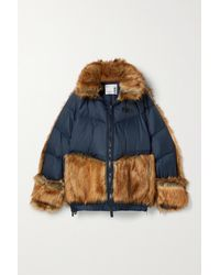 Nike + Sacai Nrg Oversized Hooded Faux Fur And Quilted Shell Down Jacket - Blue