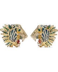 Gucci - Gold-plated, Crystal And Enamel Earrings - Lyst