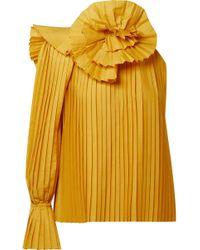 Rosie Assoulin Oberteil Aus Plissierter Popeline Mit Asymmetrischer Schulterpartie - Gelb