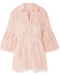 Lela Rose Hemd Aus Schnurgebundener Spitze Mit Crêpe-besatz - Pink