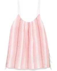 lemlem - Tereza Fringed Striped Cotton-blend Gauze Top - Lyst