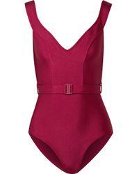 Zimmermann | Kali Belted Off-the-shoulder Swimsuit | Lyst