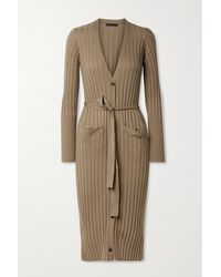 ATM Belted Ribbed Silk And Cotton-blend Cardigan - Multicolour