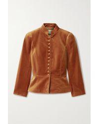 Tory Burch Cotton-blend Velvet Jacket - Brown