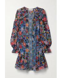 Saloni Mini-robe En Crêpe De Chine De Soie À Imprimé Fleuri Et À Ceinture Pixie - Bleu