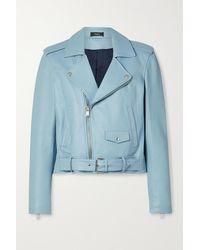 Theory Cropped Leather Biker Jacket - Blue