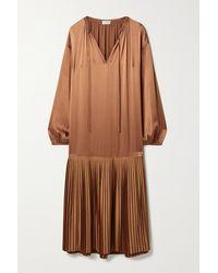 By Malene Birger Lemona Pleated Satin Midi Dress - Brown