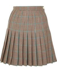 Off-White c/o Virgil Abloh Pleated Checked Wool Mini Skirt - Brown