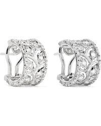 Buccellati - Ramage 18-karat White Gold Diamond Hoop Earrings - Lyst