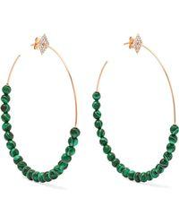 Diane Kordas - 18-karat Rose Gold, Diamond And Malachite Hoop Earrings - Lyst