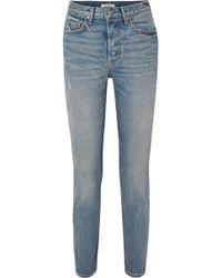GRLFRND - Karolina Hoch Sitzende Skinny Jeans In Distressed-optik - Lyst