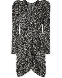 Isabel Marant Issolya Ruched Printed Fil Coupé Chiffon Dress - Black