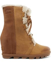 Sorel - Joan Of Arctic Wedge Ii Shearling-trimmed Waterproof Leather And Suede Ankle Boots - Lyst