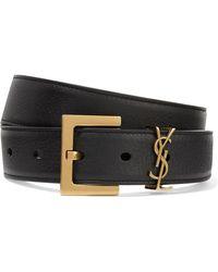 Saint Laurent - Embellished Textured-leather Belt - Lyst