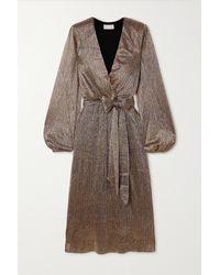 Rebecca Vallance Rivero Wrap-effect Belted Metallic Chiffon Midi Dress