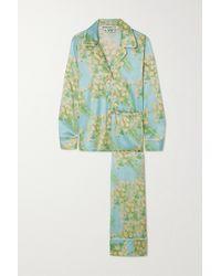 BERNADETTE Floral-print Silk-blend Satin Pyjama Set - Blue