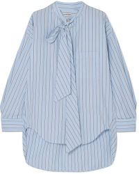 Balenciaga - Swing Printed Striped Cotton-poplin Shirt - Lyst