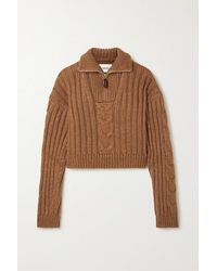 Nanushka Eria Cropped Cable-knit Sweater - Brown