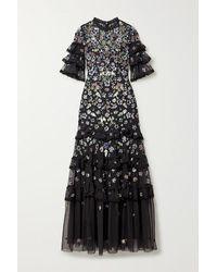 Needle & Thread Meadow Robe Aus Tüll Mit Rüschen, Pailletten Und Häkelbesatz - Schwarz