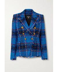 Balmain Blazer À Double Boutonnage En Tweed À Carreaux Effilé - Bleu