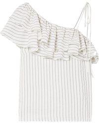 Ganni - Wilkie Ruffled Striped Silk And Cotton-blend Seersucker Top - Lyst