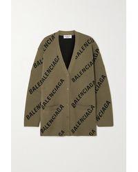 Balenciaga Cardigan Aus Einer Baumwollmischung Mit Intarsienmuster - Braun