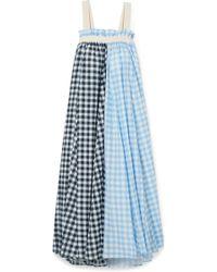 Lee Mathews - Clara Grosgrain-trimmed Checked Cotton And Silk-blend Maxi Dress - Lyst