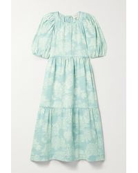 The Great The Park Tiered Floral-print Denim Midi Dress - Blue