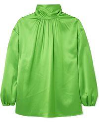 Prada - Gathered Neon Silk-satin Blouse - Lyst