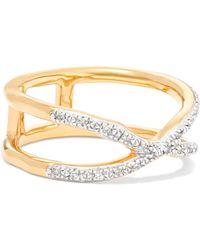 Monica Vinader - Riva Wave Cross Gold Vermeil Diamond Ring Gold P - Lyst